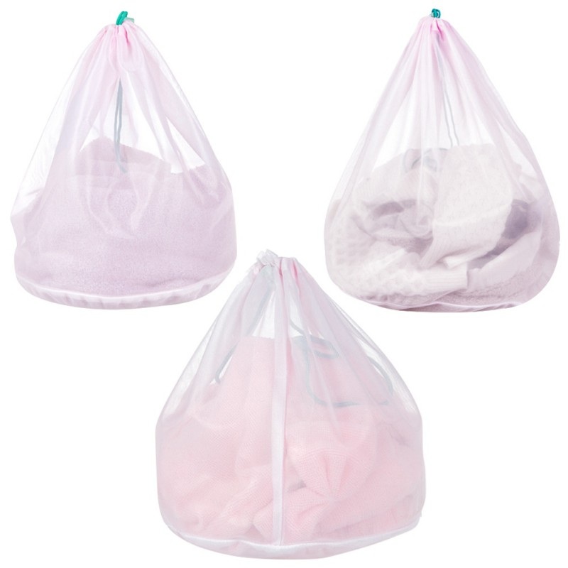 Set of 3 Sturdy Mesh Laundry Bag with Drawstring Closure Ultra Thick Polyester Laundry Bags for Clothes Bra Under
