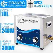 Granbo Newest Ultrasonic 10L liter 360W 110/220V Ultrasonic Cleaner With Heater and Timer For Hardware Metal parts Dental clinic