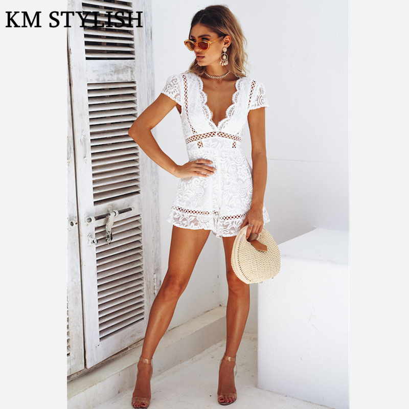 2018 Summer New Womens Jumpsuit Holiday Lace Temperament V-Neck Cutouts Tassels Playsuits Shorts