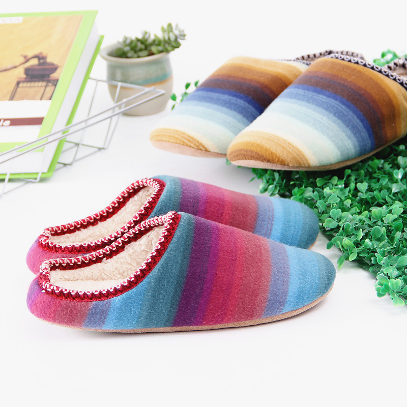 2018 Women Shoes Winter Home Slippers Rainbow Stripes Non-slip Winter Warm House Slippers Indoor Bedroom Couple Zapatillas Mujer bow slippers women winter warm slippers ladies flats shoes women indoor home slippers home shoes for women zapatillas mujer 2018