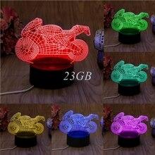 USB de La Motocicleta LED Noche de La Novedad de Luz 7 Colores Que Cambian la Lámpara de Mesa Decoración De Escritorio 3D A21_17