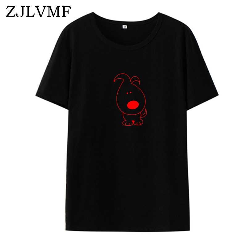 Zjlvmf Минималистичная футболка с собакой для женщин 2019 лето новая Harajuku Хлопковая женская футболка корейский стиль модная Милая футболка с рисунком для женщин