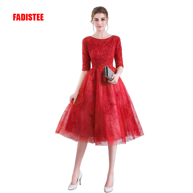 FADISTEE New arrival elegant party   dress     prom     dresses   Vestido de Festa lace gown appliques half sleeves style