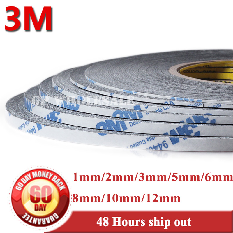 Mixed 1mm/2mm/3mm/5mm/6mm/8mm/10mm/12mm*50 Meters Black 3M Double-Sided Adhesive Tape Sticky LCD Touch Screen Glass Assemble 50m 2mm 10mm strong double sided adhesive tape sticky for cellphone screen lcd l057 new hot