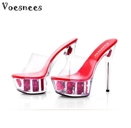 Обувь женские босоножки на платформе летние модные водонепроницаемые клубные босоножки на высоком каблуке (15 см) разноцветные с цветком ро...