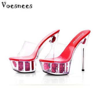 ee0ccc8f Zapato mujer plataforma sandalias verano Multicolor Rosa flor diapositivas  impermeable 15 cm club nocturno Sexy zapatos de tacón alto Plus- tamaño  34-43