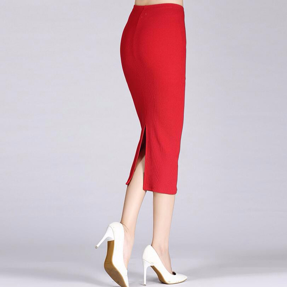 Women Pencil Skirts Knitted Stretch Elastic Waist High Waist Mid Length Office Skirts Solid Color Black Red Blue OL Skirts Hot