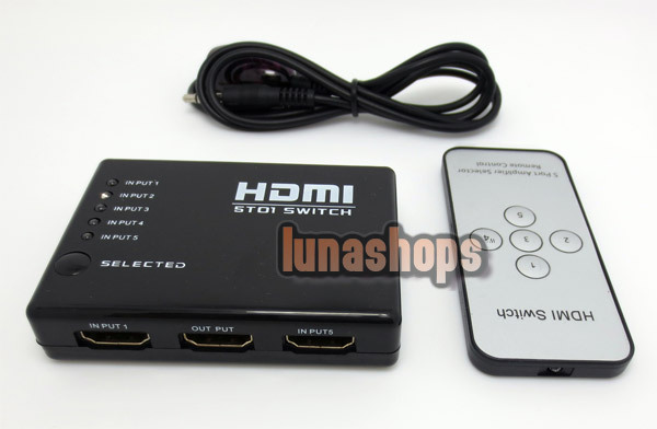 5 Port HDMI Switch Switcher Splitter Hub Remote Control 3D for PS3 Xbox DVD LN002940 ...