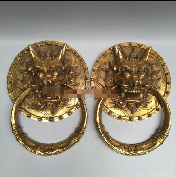 Antique 3 cloches cuivre Chapelle Windchime Garden Ornement Suspendu Craft Kylin