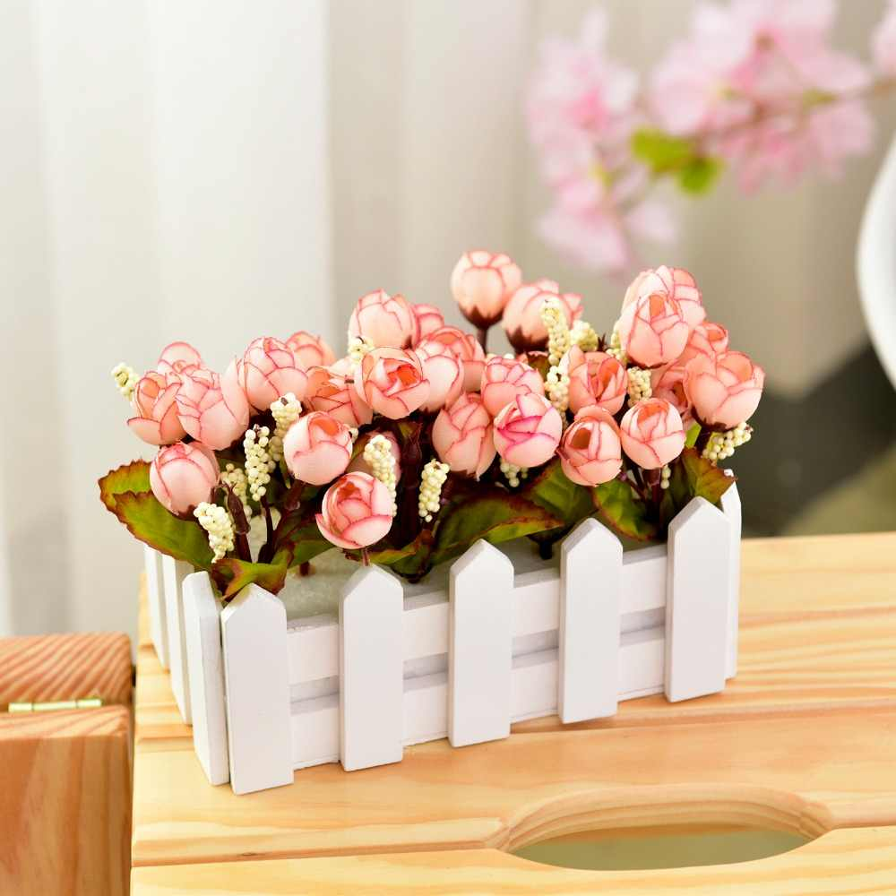 Bunga Buatan Rosebud Set untuk Restoran Dekorasi Taman Bunga + 16 Cm Pagar Kayu Vas Bonsai Rumah Dekorasi Bunga Palsu