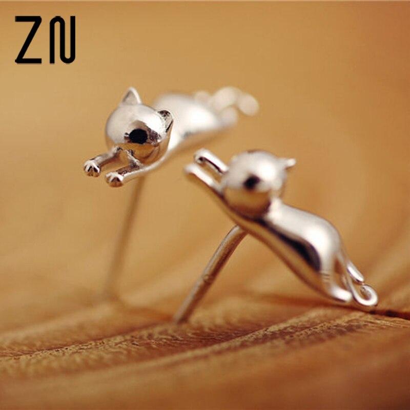 1 Paar Beiläufige Delicate Tiny Silber Farbe Nette Katzen Ohrringe Für Frauen Mädchen Chic Stud Ohrringe Schnelle WäRmeableitung