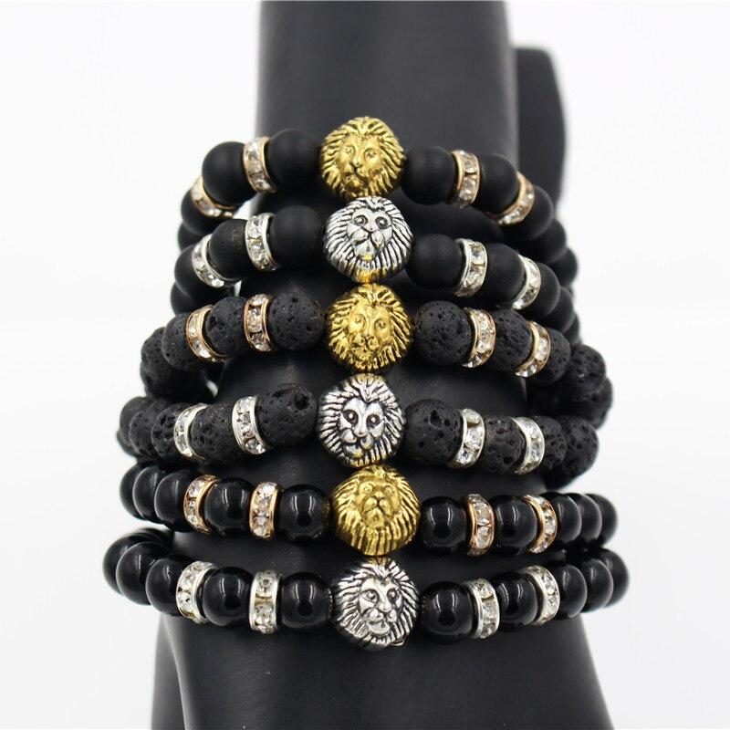 Fashion Jewelry Lions Head Bracelet Rhinestone Gold Tone Metal Costume Accessory