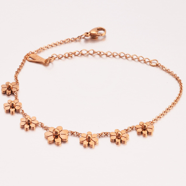 Vintage Ankle Bracelet For Women Best Gifts Rose Gold 7 Daisy Flower Plant Link Chains