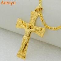 Key Pattern Jesus Cross Men Pendant Necklace Chain Women 18k Gold Plated Jesu Picture Greek Fret