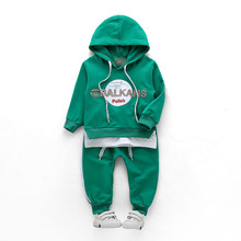 Infant Baby Pure Cotton Hooded Clothing Suits Children Hoodies Pants 2 Pieces Sport Sets Kdis Clothes