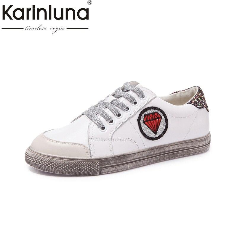 KarinLuna Brand Design 2018 Genuine Leather Sneakers Women Shoes White Fashion Casual Woman Shoes Girls Footwear