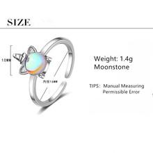 Nowy Exquisite kolor kamień księżycowy jednorożec otwarcie pierścionki dla kobiet 925 Sterling Silver biżuteria akcesoria Party prezenty SAR106 tanie tanio Moda Kobiety Srebrny Strona TRENDY Zwierząt Zespoły weselne Brak 16mm Wszystko kompatybilny Kuziduocai Nawet Regulowane