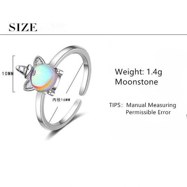 Nowy Exquisite kolor kamień księżycowy jednorożec otwarcie pierścionki dla kobiet 925 Sterling Silver biżuteria akcesoria Party prezenty SAR106