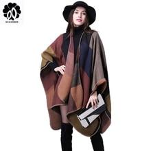 2019 Brand Women Winter Scarf Warmer Shawl Ladies Vintage Plaid Blanket Knit Wrap Cashmere Poncho Capes Female Echarpe Pashmina