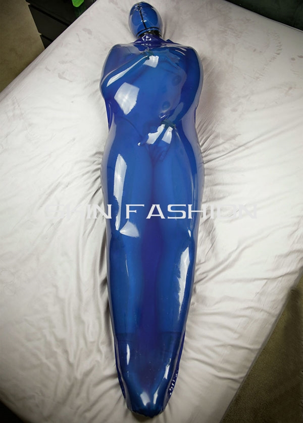 Free Shipping Adult Transparent Blue Latex Bodysuits