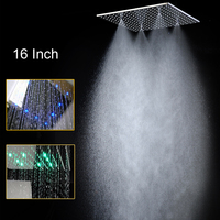 High Quality 16 inch Rain Shower Head Ceiling Square Showerhead Stainless Steel Mirror Finished LED 3 Color Change