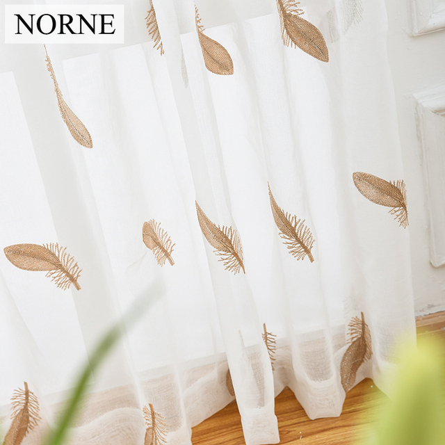 NORNE Embroidered Semi White Voiles Peacock Feathers Tulle Sheer Curtains  For Living Room,Kitchen Drape