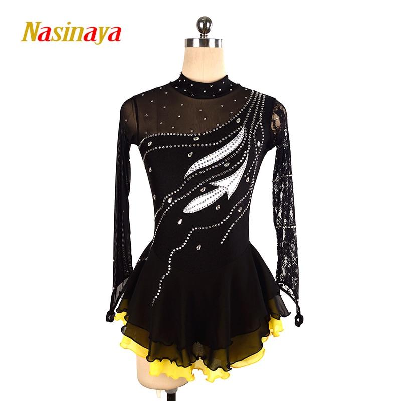 Nasinaya Patinage artistique Robe Personnalisé Concurrence Glace De Patinage Jupe pour Fille Femmes Enfants Patinaje Gymnastique Performance 102