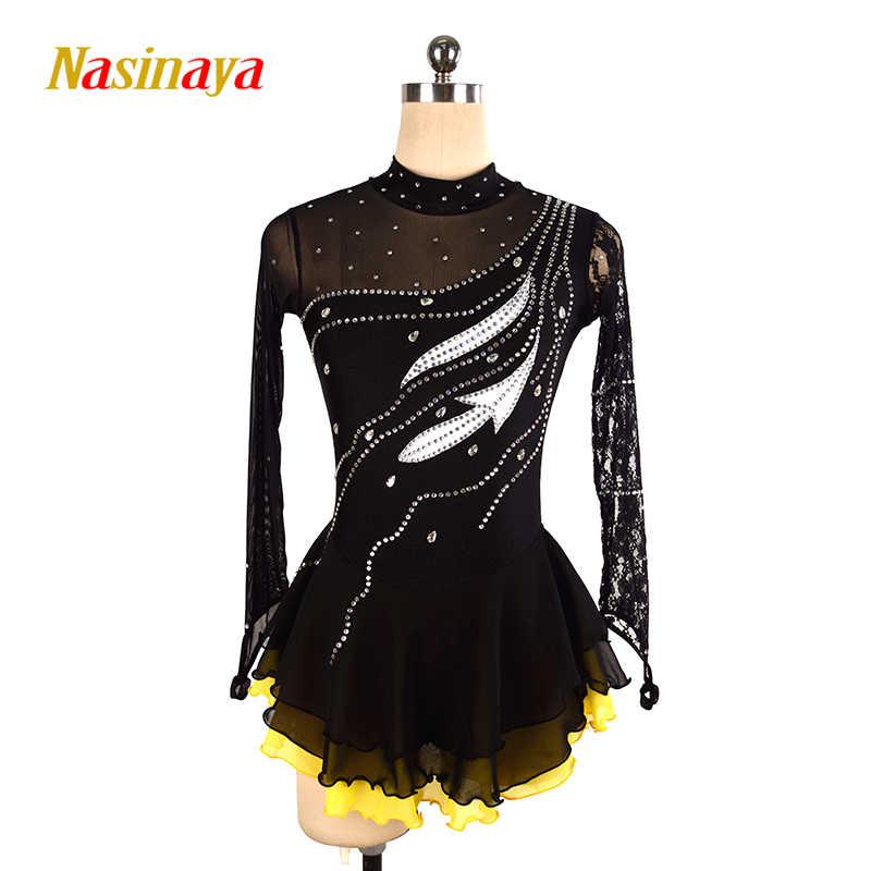Платье для фигурного катания Nasinaya, индивидуальные юбки для конькобежцев для девочек, женщин, детей, Patinaje, гимнастика, представление 102