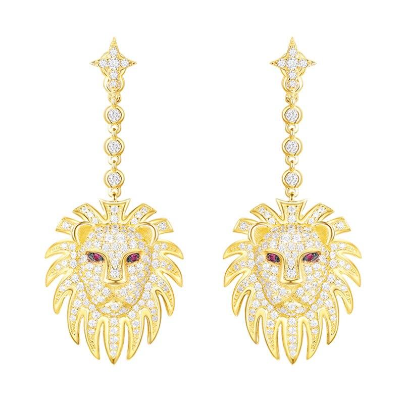 SKA Brand Earrings For Women 925 Silver Fine Jewelry Lion Inlaid Zircon Red Eyes Fashion Women Drop Earrings AE10605XKRY