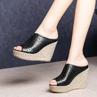 zorssar 2019 women slippers Soft Cow leather Summer cutouts Rome style black color open toe beaches wedges sandals party dress