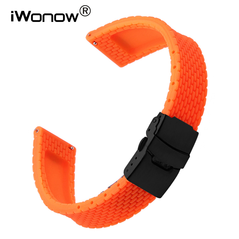 24mm Quick Release Silicone Rubber Watchband for Sony Smartwatch 2 SW2 Suunto TRAVERSE Watch Band Wrist Strap Bracelet Black Red купить
