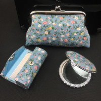 Latest Classic Silk Printed 3 Sets Of Lipstick Tube Mirror And Cosmetic Bags Weddings Party Favors