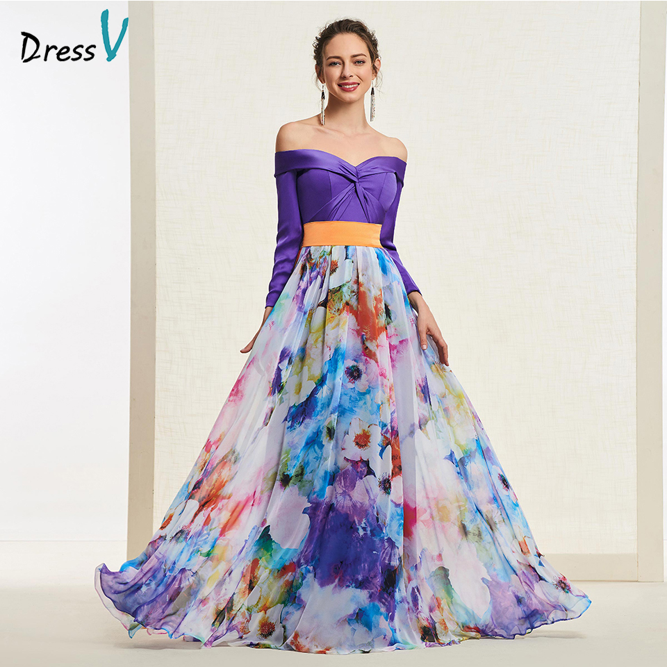 Dressv elegant indigo long   prom     dress   off the shoulder simple a-line print evening party gown   prom     dresses   customize