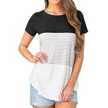 06fde27e JAYCOSIN Women Short Sleeve Triple Color Block Stripe T-shirt Cotton Blend  Casual O-neck T-shirts Gift Jan 11 Drop Ship 8.28
