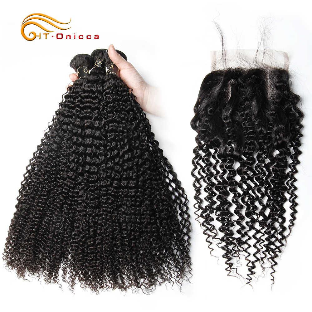 Onicca Curly Human Hair Bundles With Closure Kinky Curly Hair With Closure Brazilian Hair Weave Bundles With Closure Remy Hair