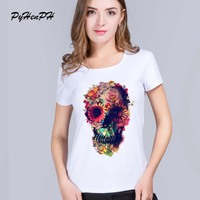 PH New 2016 T Shirt For Women Fashion Short Floral Skull Pattern Print Milk Silk Original