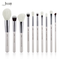 Jessup Pearl White Silver Professional Makeup Brushes Set Make Up Brush Tools Kit Foundation Powder Definer