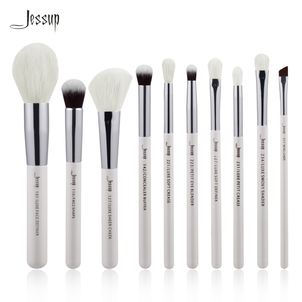 Jessup Pearl White/Silver Professional Makeup Brushes Set Make up Brush beauty Tools kit Foundation Powder Definer Shader Liner new jessup brand 5pcs black silver professional makeup brushes set cosmetics tools beauty make up brush foundation blush powder