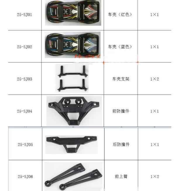 XLH JYRC 9125 1/10 części zamienne do samochodów rc kompletne części 25-SJ01 ~ 25-ZJ08 body shell serwosilnik wał napędowy opony itp