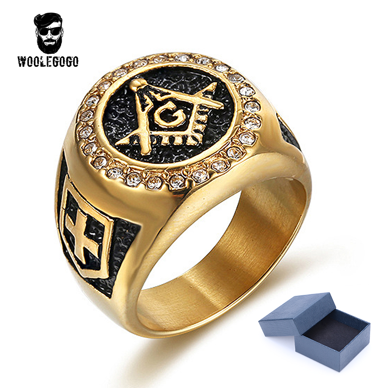 Gold Masonic Ring Shield Cross Stainless Steel Freemason Rhinestone Ring for Men Women Jewelry Vintage Knight Templar CZ Rings