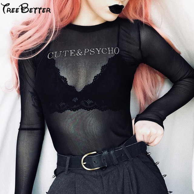 Transparent Letter Print Black Mesh Bodysuit Hollow Out Long Sleeve Body Women 2019 Spring Slim Hips Pullover