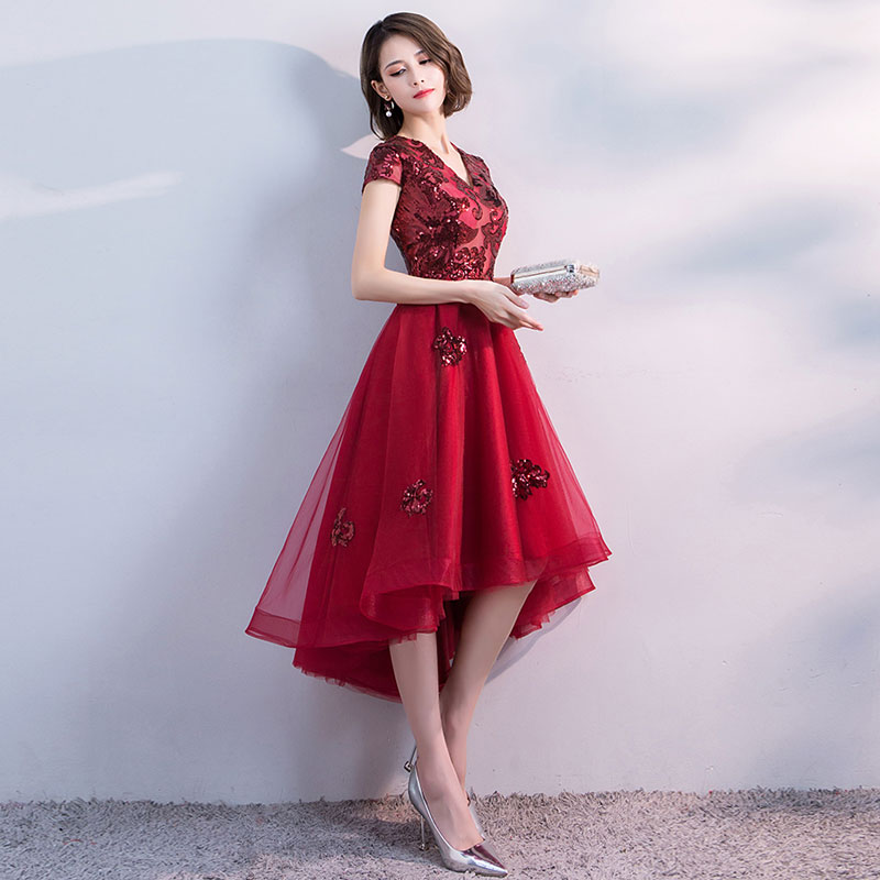 FADISTEE Hot sale short dresses high-low back cocktail party zipper simple style satin sequin Burgundy prom dress style 3