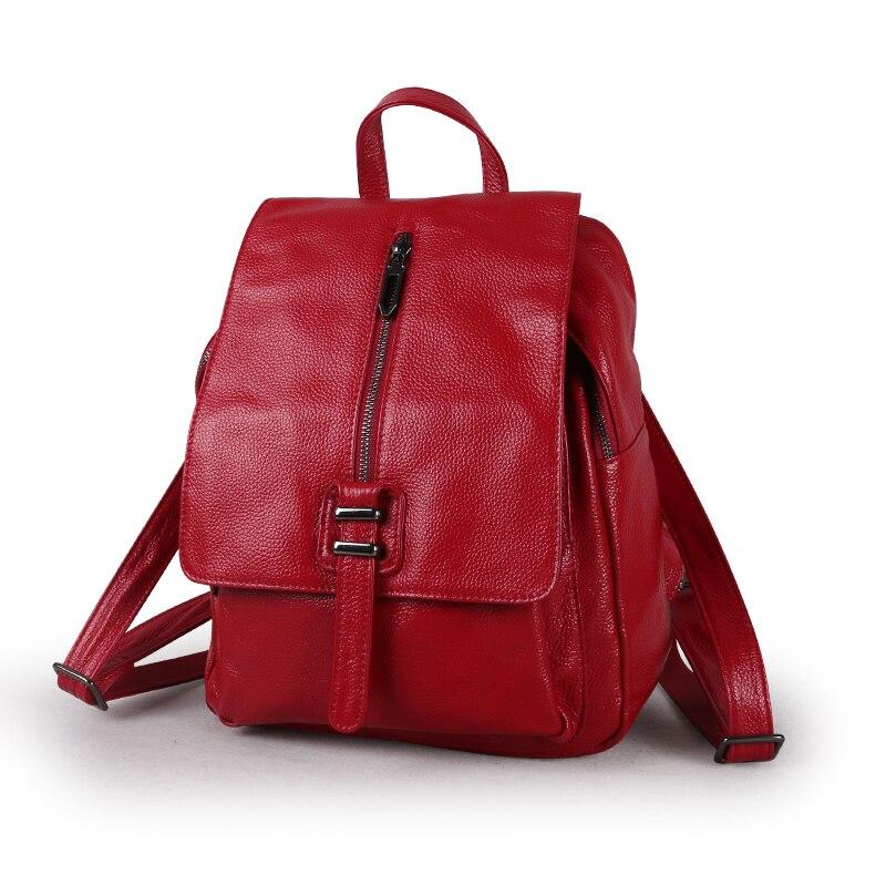 Nesitu High Quality New Black Blue Red Beautiful Cute Genuine Leather Women Backpack Girl Female Real