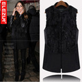Free shipping 2013 winter large size luxury star models fight skin rabbit fur collar and long sections woolen vest Fur