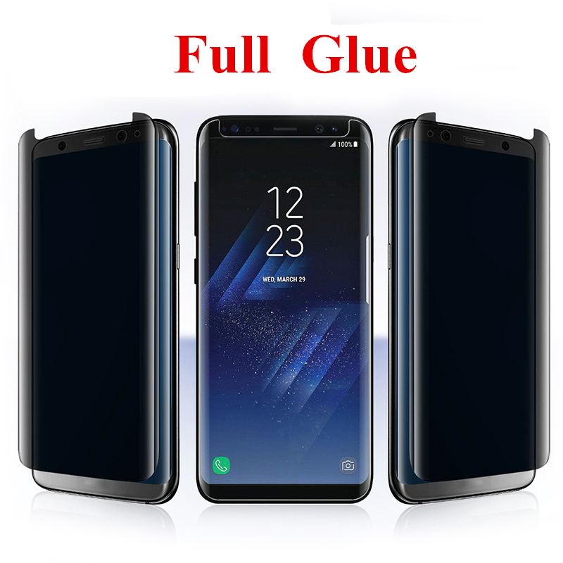 Full Glue Tempered Glass Privacy Screen Protector For Samsung Galaxy S9 Plus S8 Note 8 3D Full Adhesive Anti-Spy Glass Protector