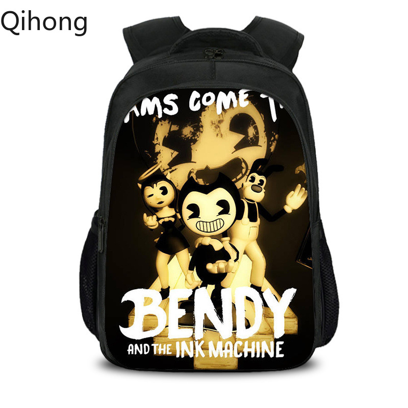 Dabbing Ink Machine bendy Backpack students USB Charge Mochila travel School Bag Casual Laptop bagpack for children Qihong image