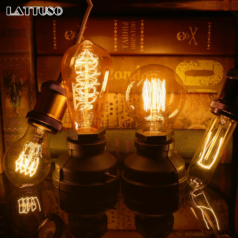 LATTUSO Vintage Edison Bulbs E27 220V Incandescent 40W A19 A60 ST64 G95 Filament Bulb Retro Light For Pendant Lamp