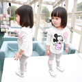 2016 primavera vestido de algodón niñas traje de algodón 1-3 años de edad de los niños ropa casual de la camiseta