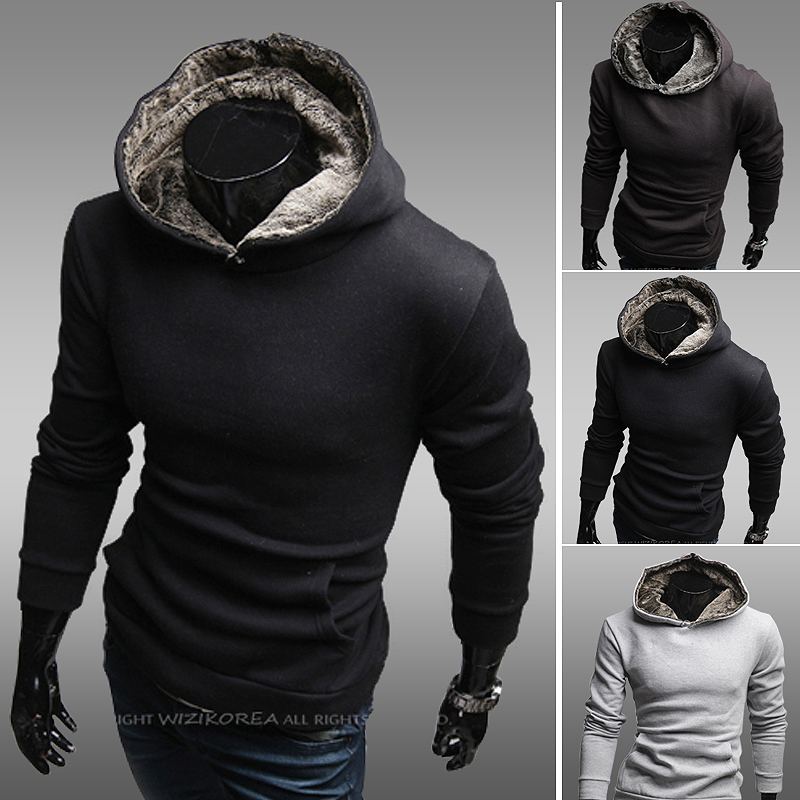 2015 Cotton Casual Woolen Half Hot Sale Autumn New Arrival Men's Clothing Rabbit Fur with A Hood Outerwear Boys Sweatshirt Slim