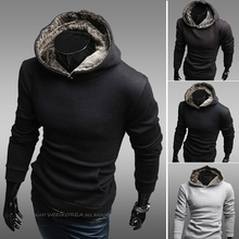 2015 Cotton Casual Woolen Half Hot Sale Autumn New Arrival Men's Clothing Rabbit Fur with A Hood Outerwear Boys Sweatshirt Slim